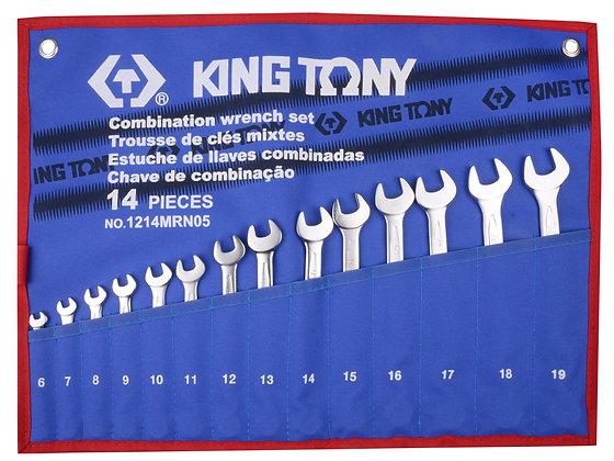 Spanner Set, Open End & Ring, Metric, 14 Piece