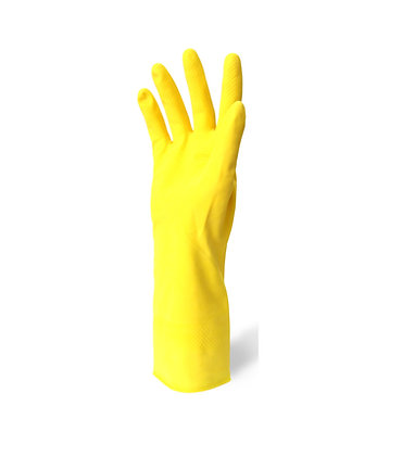 Front view yellow rubber glove