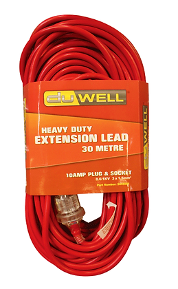 Front view of red extension lead in packaging