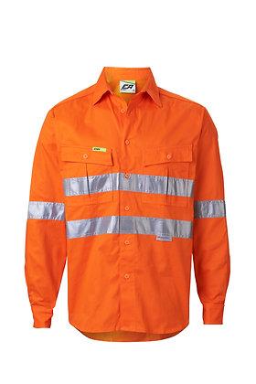 Front of regular weight orange work shirt Endurite