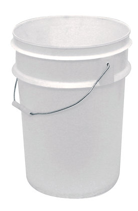 side view of white general purpose plastic bucket