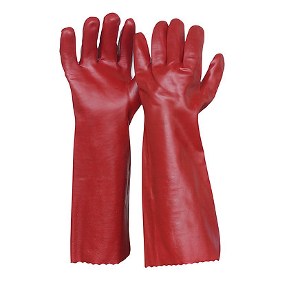 pair of red chemical resistant gloves