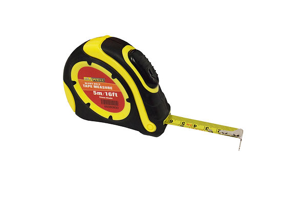 Side view of black and yellow 5 metre tape measure