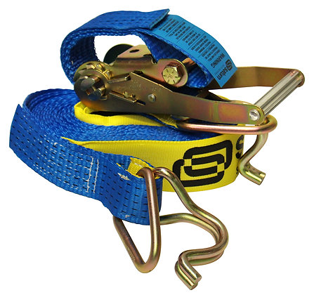 front view blue ratchet strap