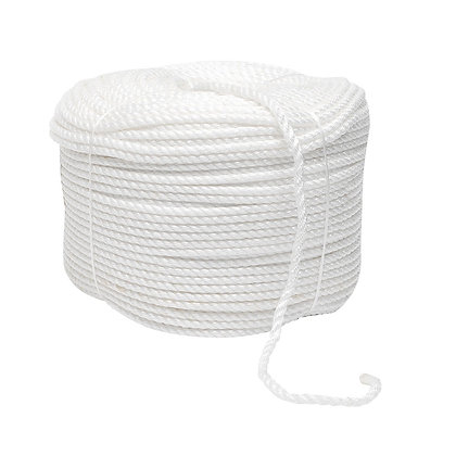 Side view of white Polypropylene, Twisted coil Rope