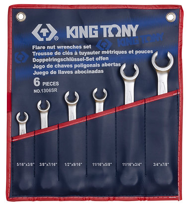 Flare Nut Spanner Set, Imperial, 6 Piece