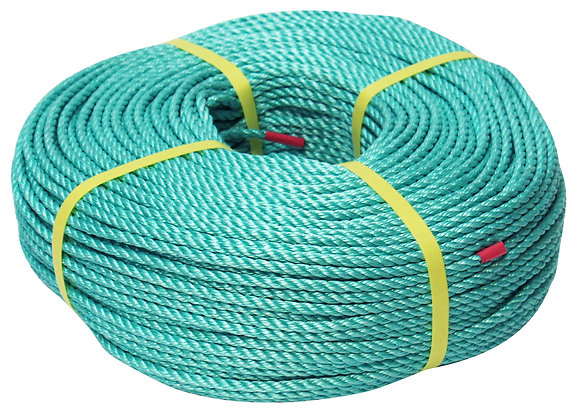 Side view of green twisted polypropylene rope