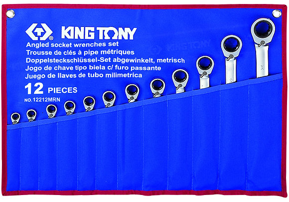 Spanner Set, Open End & Ratchet Ring, Metric, 12 Piece