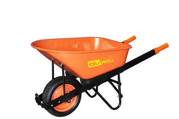 Side view of orange steel wheelbarrow
