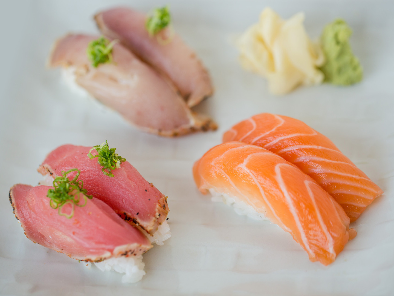2pcs Nigiri: Salmon, Sear Ahi & Albacore