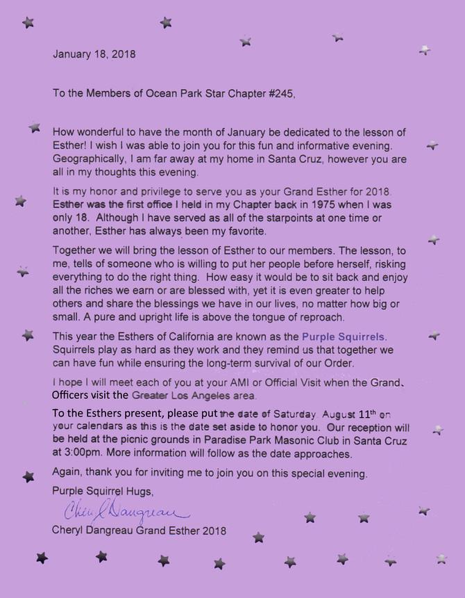 Grand Esther Letter