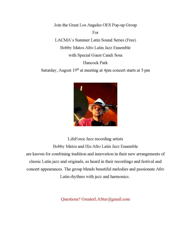 Free Latin Jazz Concert 8/19  4PM