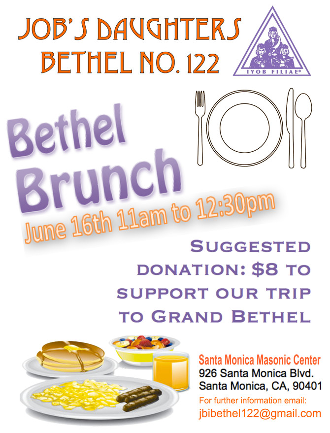Job's Daughters Fundraising Brunch 6/16