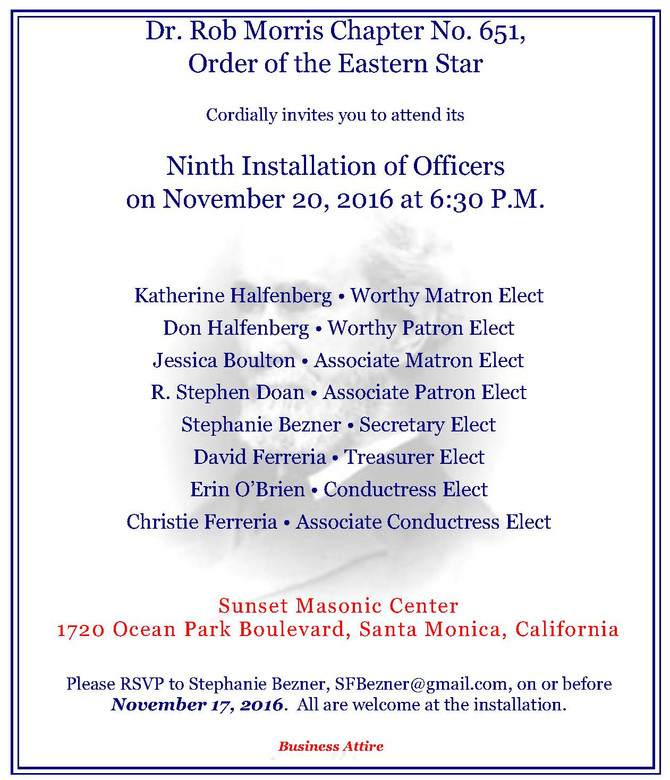 Dr. Rob Morris Chapter Installation