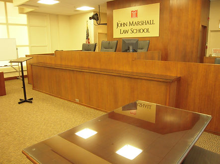 On site mock courtroom restoration at John Marshall Law School