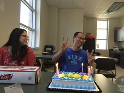 Houqing enjoying his cake