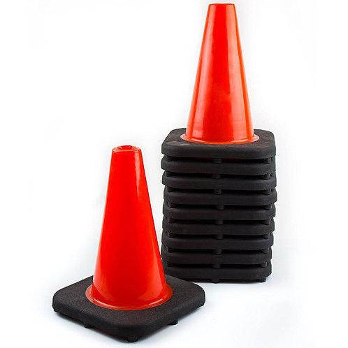 "12"" PVC Traffic Safety Cone, Black Base - Orange"