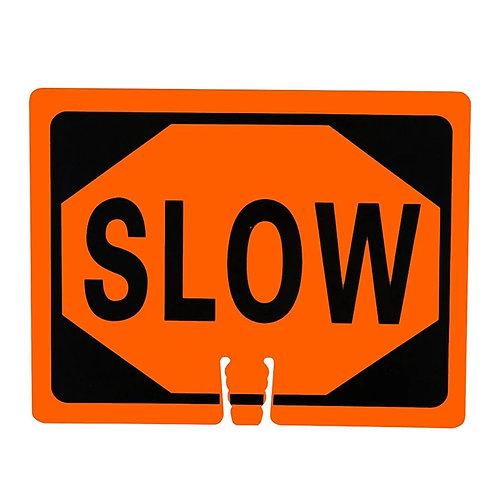 "18""w x 14""h Traffic Cone Sign ""Slow"" Black on Orange"