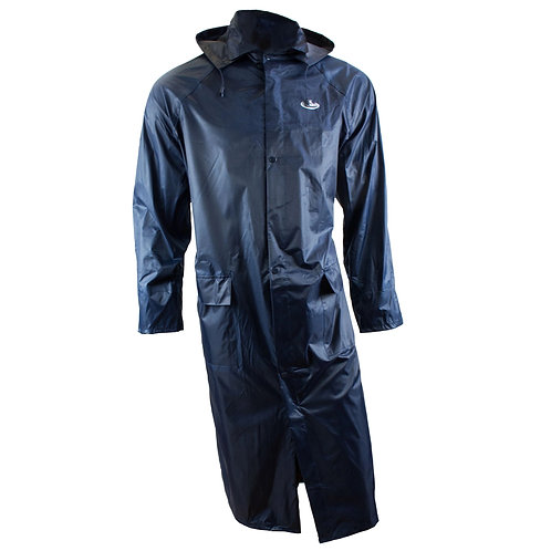 PVC Polyester Trench Rain Long Coat with Hoodie - Navy