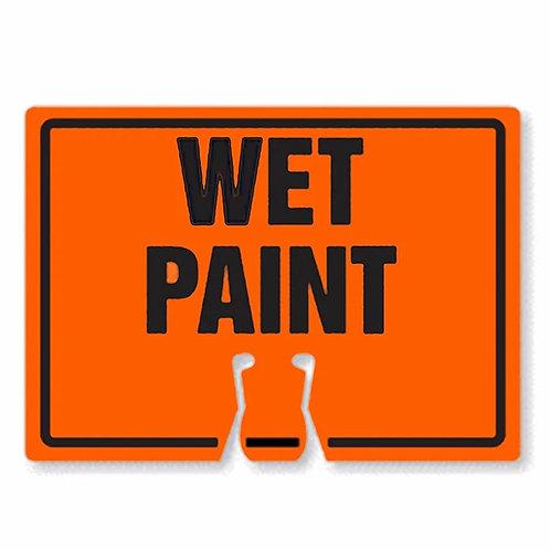 "18""w x 14""h Traffic Cone Sign ""Wet Paint"" Black on Orange"