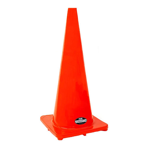"28"" Safety Traffic PVC Cones, Orange Base - Orange"
