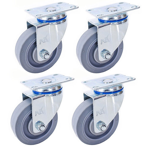"""Swivel Plate Caster with 4"""" x 1-1/4"""" Non Marking Soft Rubber TPF Wheel"""