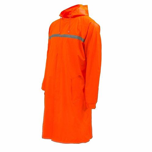 Mens Waterproof Long Raincoat PVC Trecnh Coat - Orange