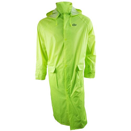 PVC Polyester Trench Rain Long Coat with Hoodie - Hi-Viz Green
