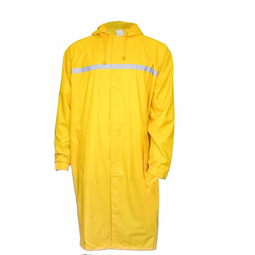 Mens Waterproof Long Raincoat PVC Trecnh Coat - Yellow