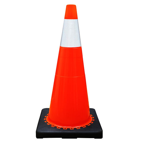 """28"""" Safety Traffic PVC Cones, One Reflective Collar with Black Base - Orange"""