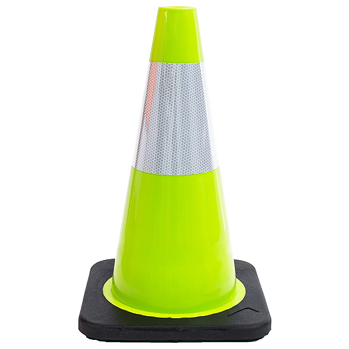 """18"""" PVC Traffic Safety Cone, One Reflective Collar, Black Base - Green"""