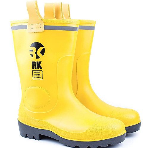 Mens Waterproof Rubber Sole Rain Boots - Yellow