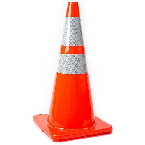 "28"" Safety Traffic PVC Cones, Orange Base with Two Reflective Collar - Orange"