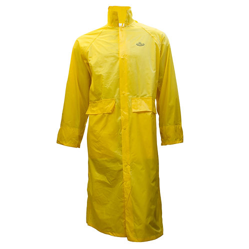 PVC Polyester Trench Rain Long Coat with Hoodie - Yellow