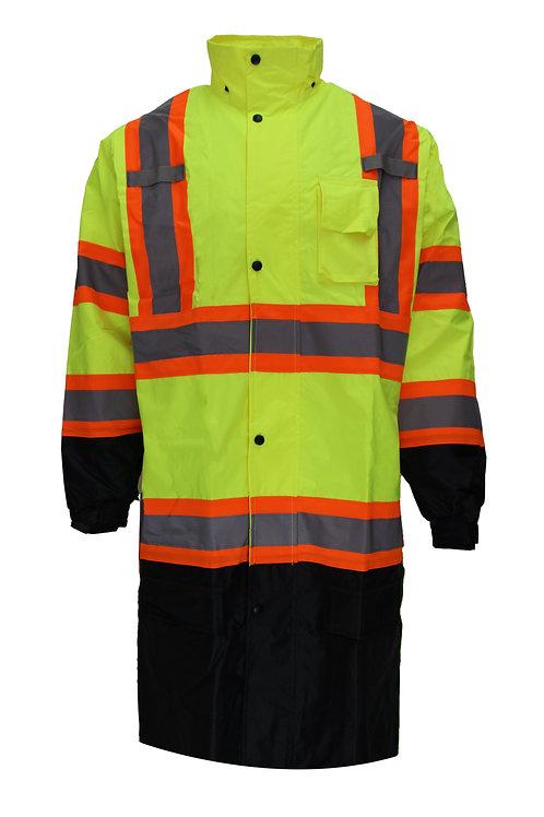 Class 3 Rainwear Reflective Hi-Viz Black Bottom Long Rain Coat with X Pattern