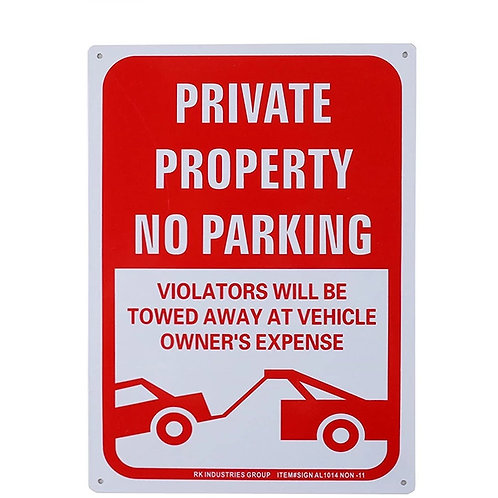 "OSHA Safety Sign, Legend ""Private Property, No Parking"""