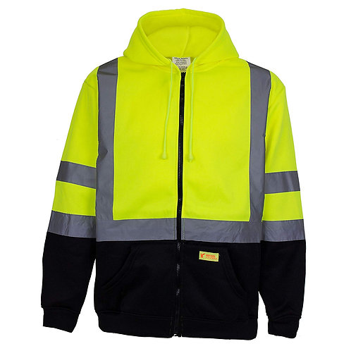Hi-Viz Workwear Sweatshirt, Full Zip Hooded, Black Bottom, Fleece