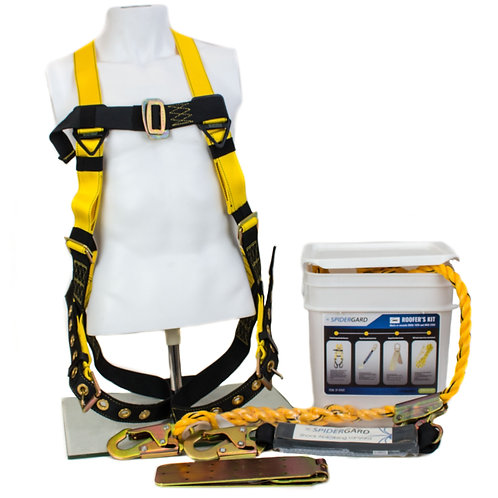 Spidergard Construction Harness, Leg Tongue Buckle Straps & 4 Pieces Roof Kit