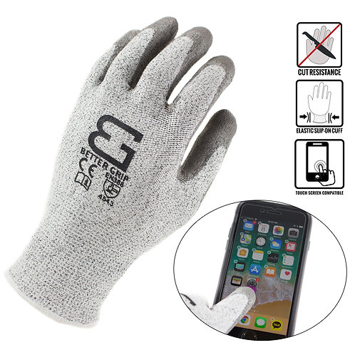 Level 5 Cut Resistant Shell PU Coated Work Gloves, Works on Smart Device
