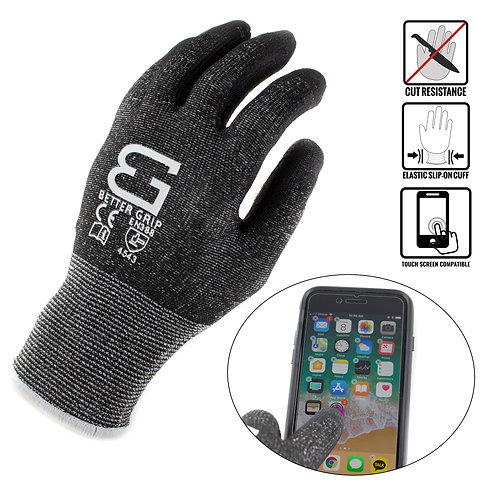 Level 5 Cut Resistant Shell PU Coated Work Gloves, Works on Smart Devices