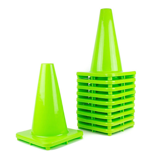 "12"" PVC Traffic Safety Cones, Plain - Green"