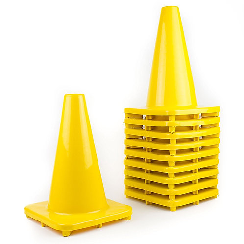 "12"" PVC Traffic Safety Cones, Plain - Yellow"