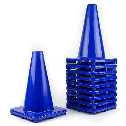 "12"" PVC Traffic Safety Cones, Plain - Blue"