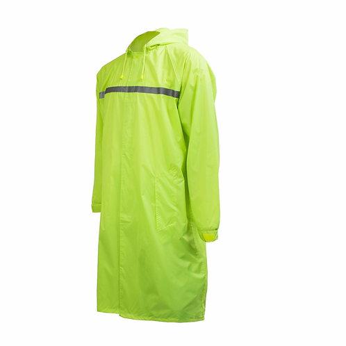 Mens Waterproof Long Raincoat PVC Trecnh Coat - Lime