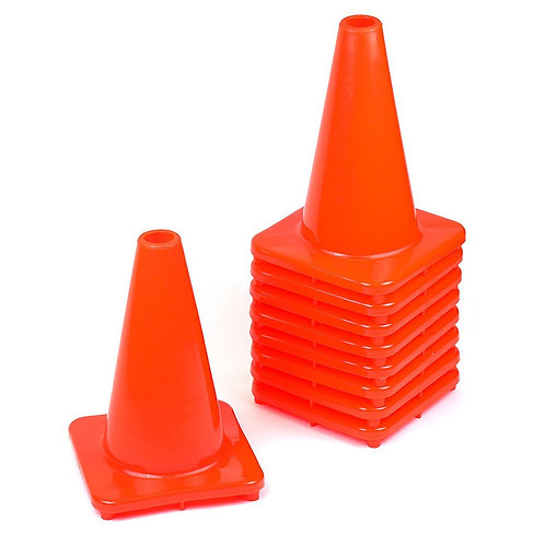 "12"" PVC Traffic Safety Cones, Plain - Orange"