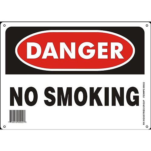 "OSHA Safety Sign, Legend ""Danger No Smoking"""
