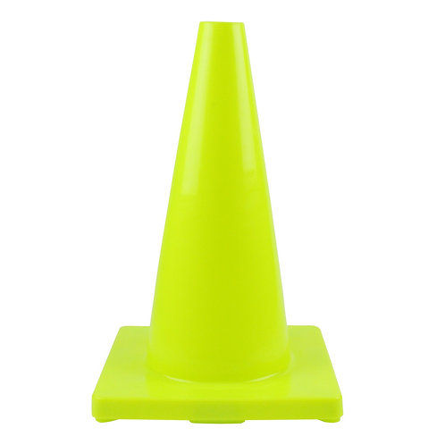 "18"" PVC Traffic Safety Cones, Plain - Lime Green"