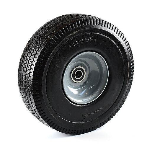 """10"""" x 3.5"""" Solid Rubber Flat Free Tubeless Wheel"""