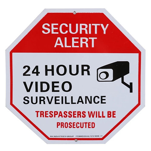 """12"""" x 12"""" """"24 Hour Video Surveillance"""" Octagon Aluminum Sign Red on White"""