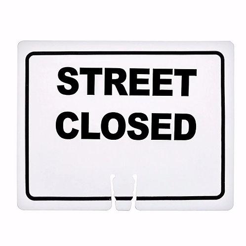 "18""w x 14""h Traffic Cone Sign ""Street Closed"" Black on White"
